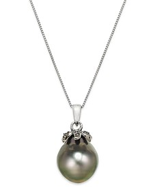 Tahitian Pearl (12mm) and Black Diamond Accent Pendant Necklace in 14k White Gold