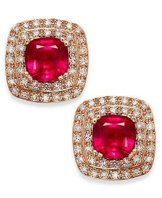 Rosa by Effy Ruby (1-3/4 ct. t.w.) and Diamond (1/4 ct. t.w.) Stud Earrings in 14k Rose Gold