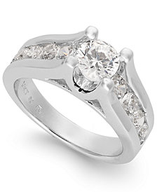 Certified Diamond Channel Engagement Ring in 14k White Gold (2 ct. t.w.)