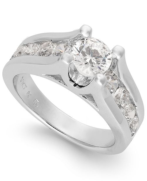 Macy's Certified Diamond Channel Engagement Ring in 14k White Gold (2 ct. t.w.)
