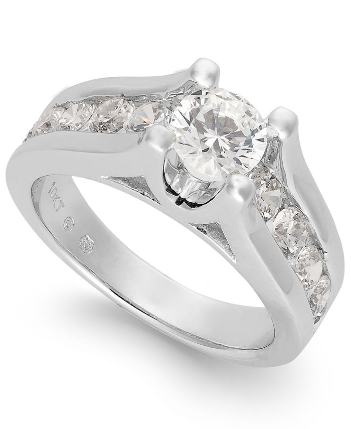 Macy's - Certified Diamond Channel Engagement Ring in 14k White Gold (2 ct. t.w.)