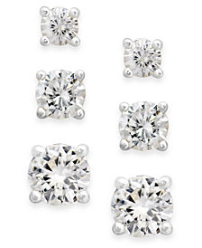 Charter Club Silver-Tone Cubic Zirconia Stud Earring Set (1-3/4 ct. t.w.)