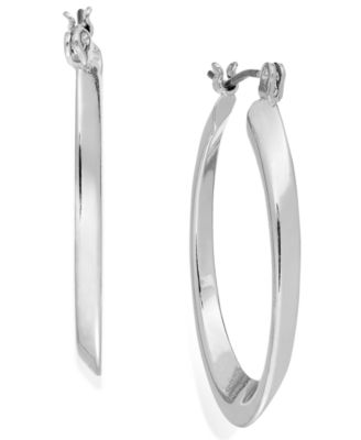 Image of Charter Club Silver-Tone Concave Oval Hoop Earrings