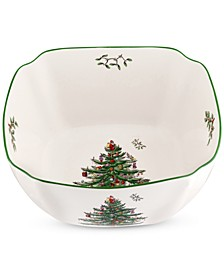 Christmas Tree Large Square Bowl 10""