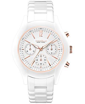 caravelle new york by bulova s chronograph white