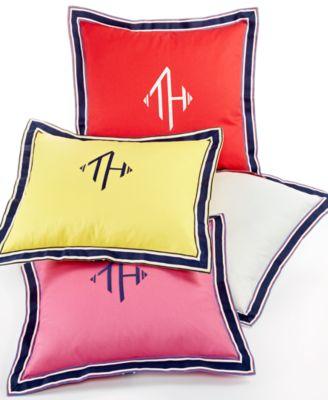 "18"" Square Monogram Grosgrain Yellow Decorative Pillow"
