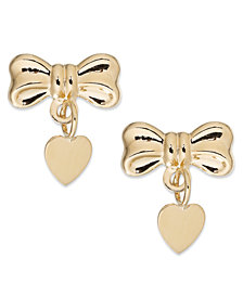Bow and Heart Drop Earrings in 14k Gold