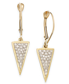 wrapped™ Diamond Triangle Drop Earrings in 10k Gold (1/6 ct. t.w.), Created for Macy's