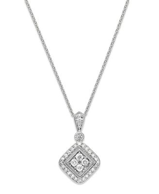 Macys Sterling Silver Diamond Square Pendant Necklace 13 Ct Tw