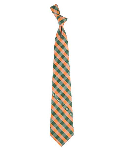 Eagles Wings Miami Hurricanes Checked Tie & Reviews