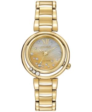 Citizen Women's Eco-Drive L Series Sunrise Diamond Accent Gold-Tone Stainless Steel Bracelet Watch 29mm EM0322-53Y