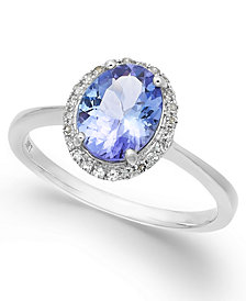 Tanzanite (1-3/8 ct. t.w.) and Diamond (1/8 ct. t.w.) Oval Ring in 14k White Gold