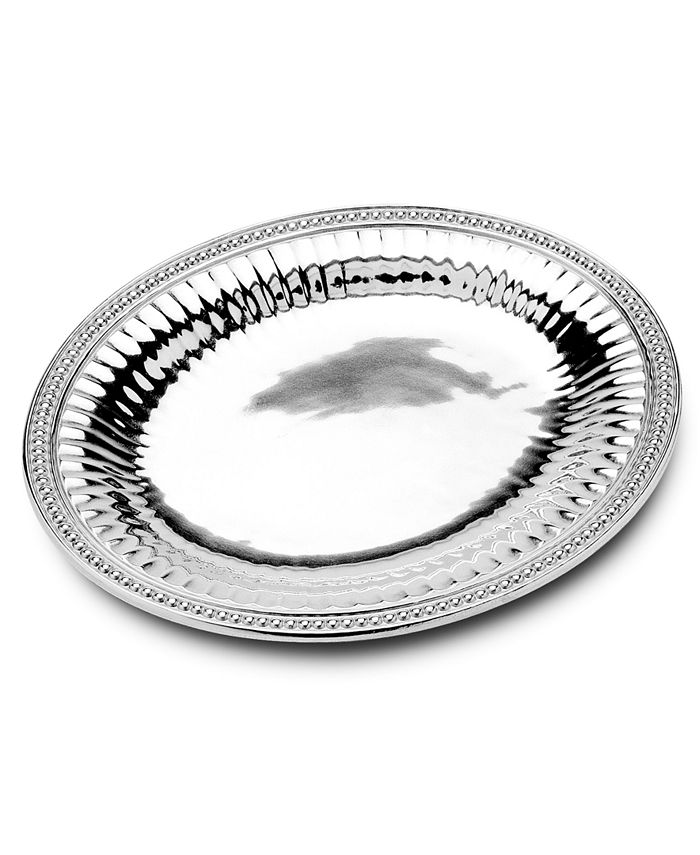 """Wilton Armetale - """"Flutes and Pearls"""" Large Oval Tray, 17.75"""" x 15.5"""""""