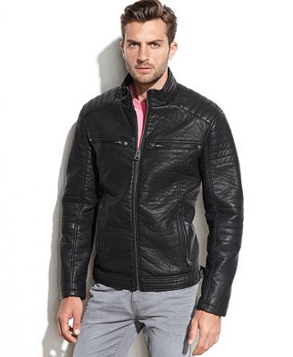 Buffalo David Bitton Faux Leather Moto Jacket - Coats & Jackets ...