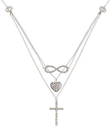 Simone I. Smith Crystal Heart, Infinity and Cross Layered Pendant Necklace in Platinum over Sterling Silver