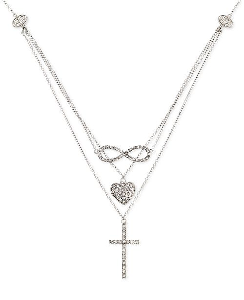 ab95d89f74c1d Simone I Smith Crystal Heart Infinity And Cross Layered Pendant