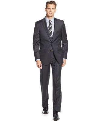 DKNY Charcoal Solid Extra-Slim-Fit Suit - Suits & Suit Separates