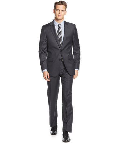 DKNY Charcoal Solid Extra-Slim-Fit Suit - Suits & Tuxedos ...