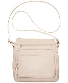Giani Bernini Nappa Leather Front Zip Crossbody, Created for Macy's
