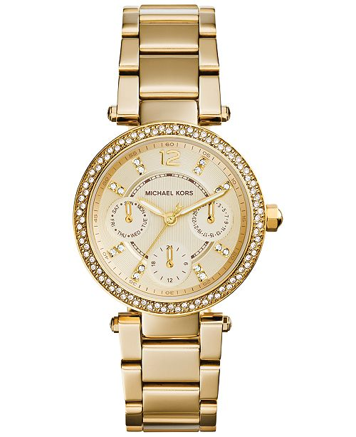 672c5160fce ... Michael Kors Women s Chronograph Mini Parker Gold-Tone Stainless Steel  Bracelet Watch 33mm MK6056 ...