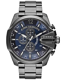 Men's Chronograph Mega Chief Gunmetal Ion-Plated Stainless Steel Bracelet Watch 59x51mm DZ4329