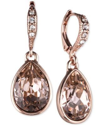 Givenchy Rose GoldTone Crystal Drop Earrings Jewelry Watches