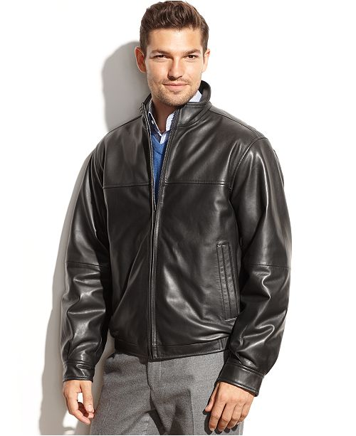ab8cc196c Perry Ellis Smooth Leather Bomber Jacket & Reviews - Coats & Jackets ...