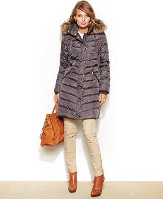 Michael Michael Kors Hooded Faux Fur Trim Down Puffer Coat