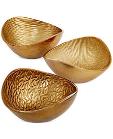 Simply Designz Metallic Organic Nut Bowls, Set of 3