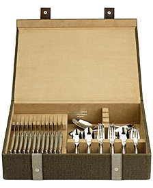 Reed & Barton Brown Woven Flatware Chest