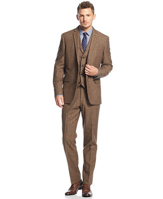 Bar Iii Carnaby Collection Slim Fit Brown Tweed