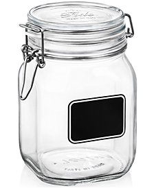 Bormioli Rocco Fido Chalk Label Large Jar, 33.75 oz.
