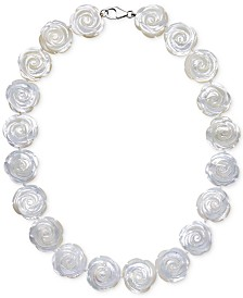 Mother of Pearl Flower Collar Necklace in Sterling Silver (20mm)
