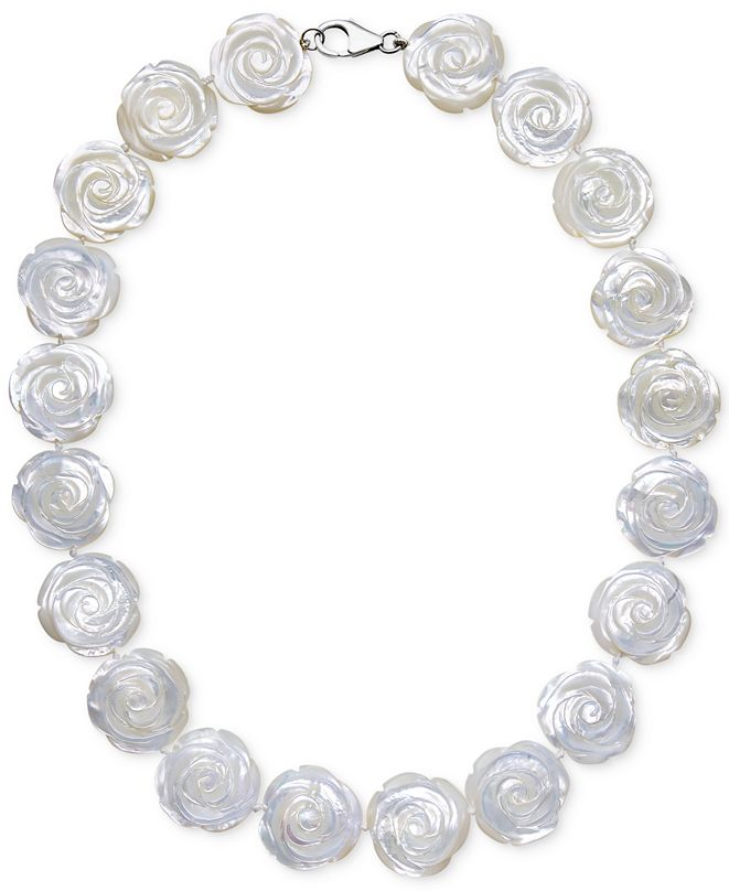 Macy's Mother of Pearl Flower Collar Necklace in Sterling Silver (20mm)