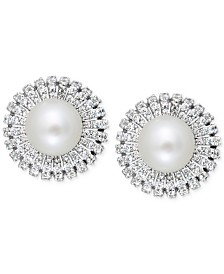 Cultured Freshwater Pearl (8mm) and Cubic Zicornia Stud Earrings in Sterling Silver