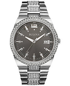 Bulova Men's Crystal Accent Stainless Steel Bracelet Watch 43mm 96B221
