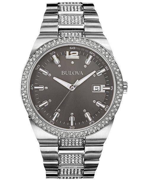 Bulova Men's Crystal Accent Stainless Steel Bracelet Watch 43mm 96B221