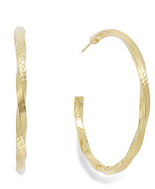 Diamond-Cut C-Hoop Earrings in 14k Gold Vermeil over Sterling Silver
