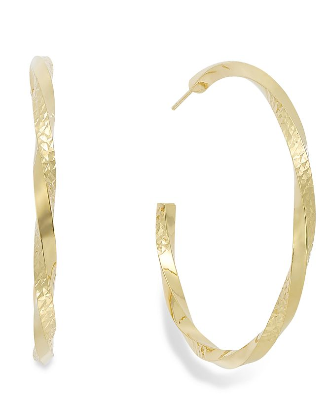Macy's Diamond-Cut C-Hoop Earrings in 14k Gold Vermeil over Sterling Silver