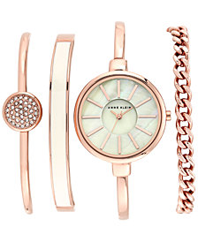 Anne Klein Women's Rose Gold-Tone Bracelet Watch Set 32mm