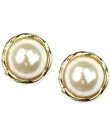 Anne Klein Gold-Tone Glass Pearl Twist Stud Earrings