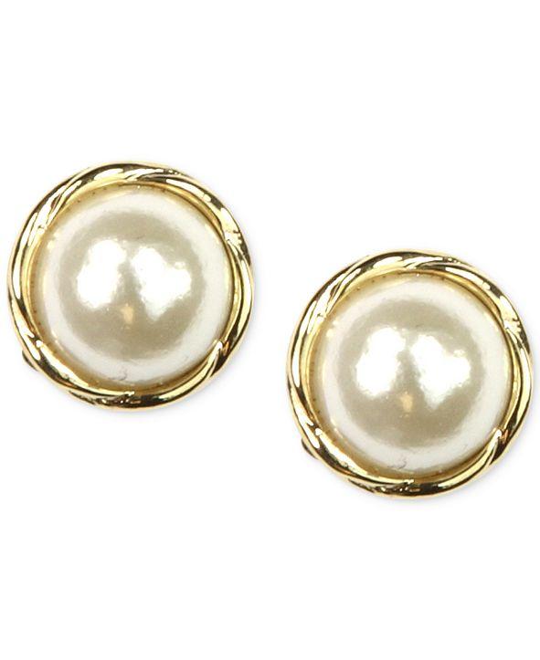 Anne Klein Gold-Tone Glass Pearl Twist Stud Earrings