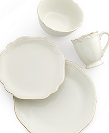 Dinnerware, French Perle Bead White 4-Piece Place Setting