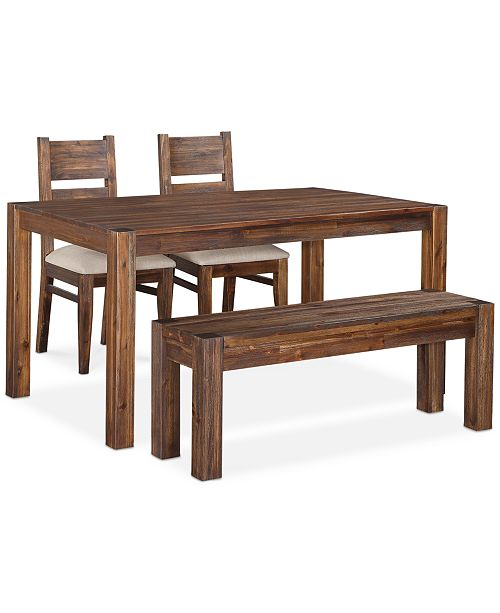 "Furniture Avondale 4-Pc. Dining Room Set, Created for Macy's,  (60"" Table, Bench & 2 Side Chairs)"