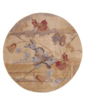 """CLOSEOUT! Round Area Rug, Somerset ST18 Art Flower Beige 5' 6"""""""