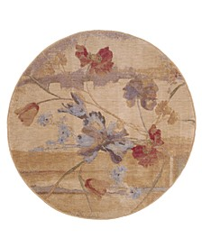 CLOSEOUT! Round Area Rug, Somerset ST18 Art Flower Beige 5' 6""