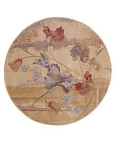 CLOSEOUT! Nourison Round Area Rug, Somerset ST18 Art Flower Beige 5' 6""