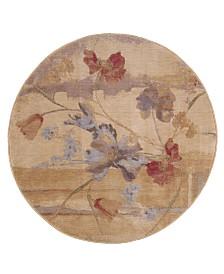 """CLOSEOUT! Nourison Round Area Rug, Somerset ST18 Art Flower Beige 5' 6"""""""