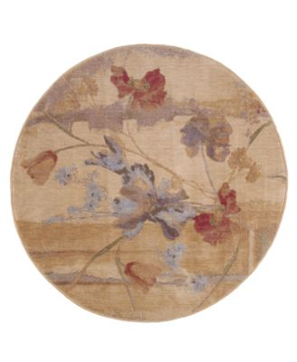 Nourison Round Area Rug, Somerset ST18 Art Flower Beige 5u0027 ...