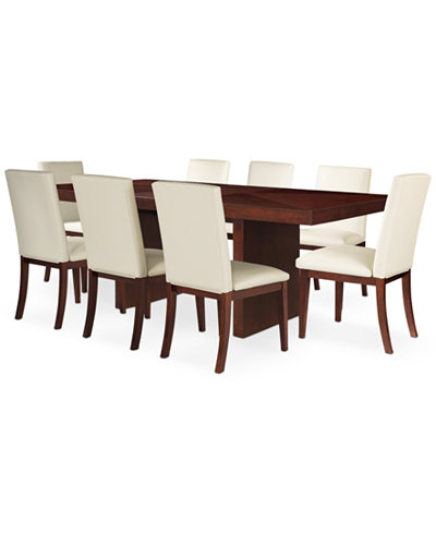 Bari White 9 Pc Dining Set Table 8 Chairs Furniture Macy 39 S